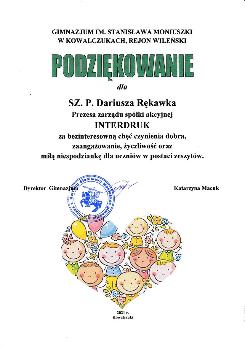 Uczniowie z Litwy i Błędostowa dziękują za wyprawki szkolne